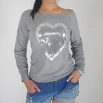 Round Neck Glitter Heart Printed T-Shirts