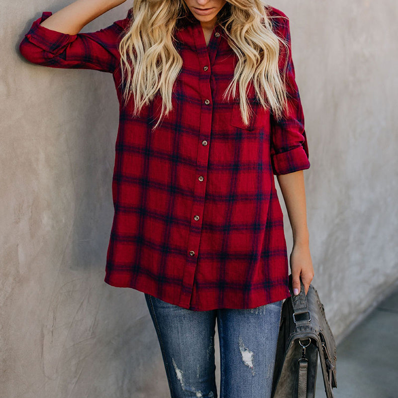 Turn Down Collar Single Breasted Gingham Shirt