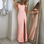 Solid Color Evening Dresses Off Shoulder Split Maxi Dress