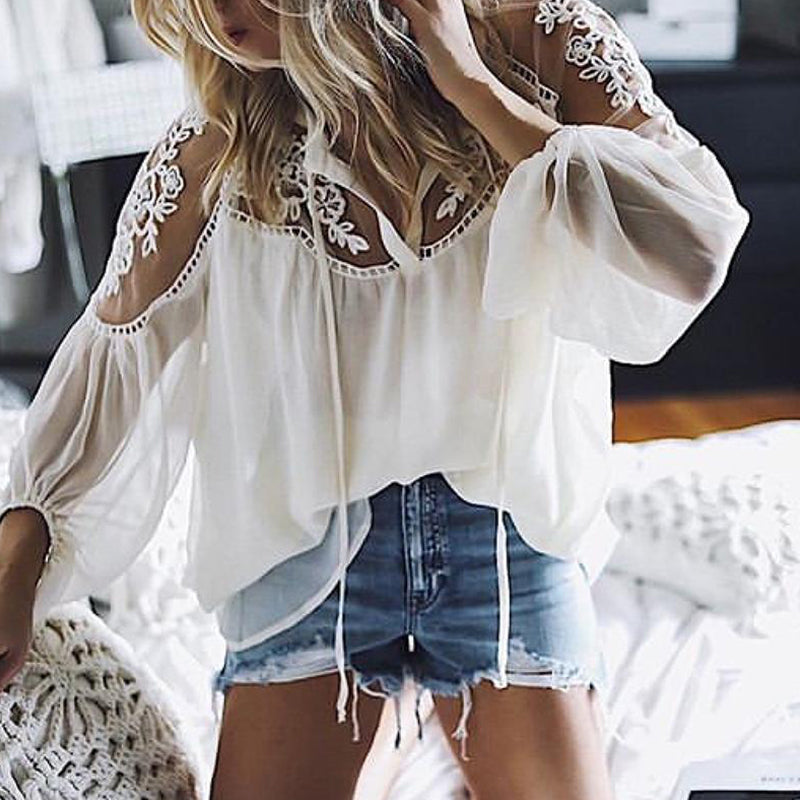 Solid Casual V-Neckline 3/4 Sleeves Blouses