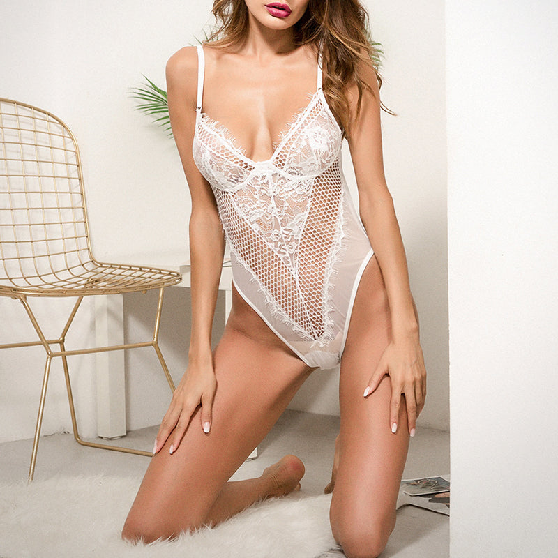 Spaghetti Strap Decorative Lace Hollow Out Plain Teddy