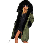 Hooded Faux Fur Collar Long Sleeve Coat