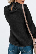 Crew Neck Decorative Lace Patchwork Plain Blouse