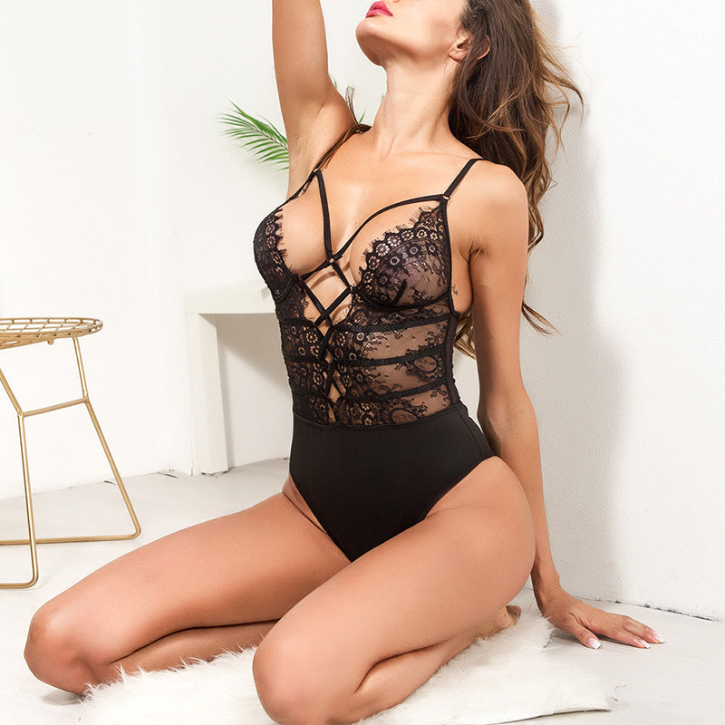 Spaghetti Strap See Through Lace Up Teddy