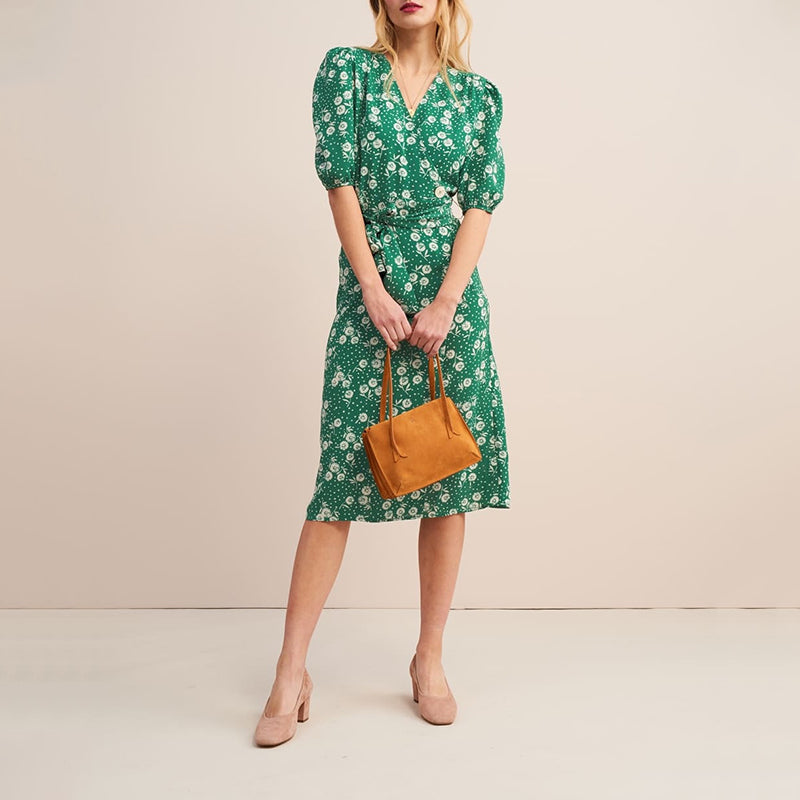 Surplice Belt Loops Floral Printed Chic Dress