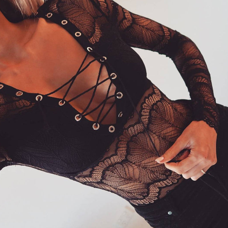 Sexy Deep V Neck Lace Up See Through Patchwork Teddy