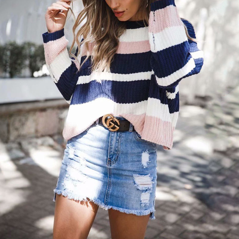 Round Neck Loose Fitting Color Block Striped Sweater