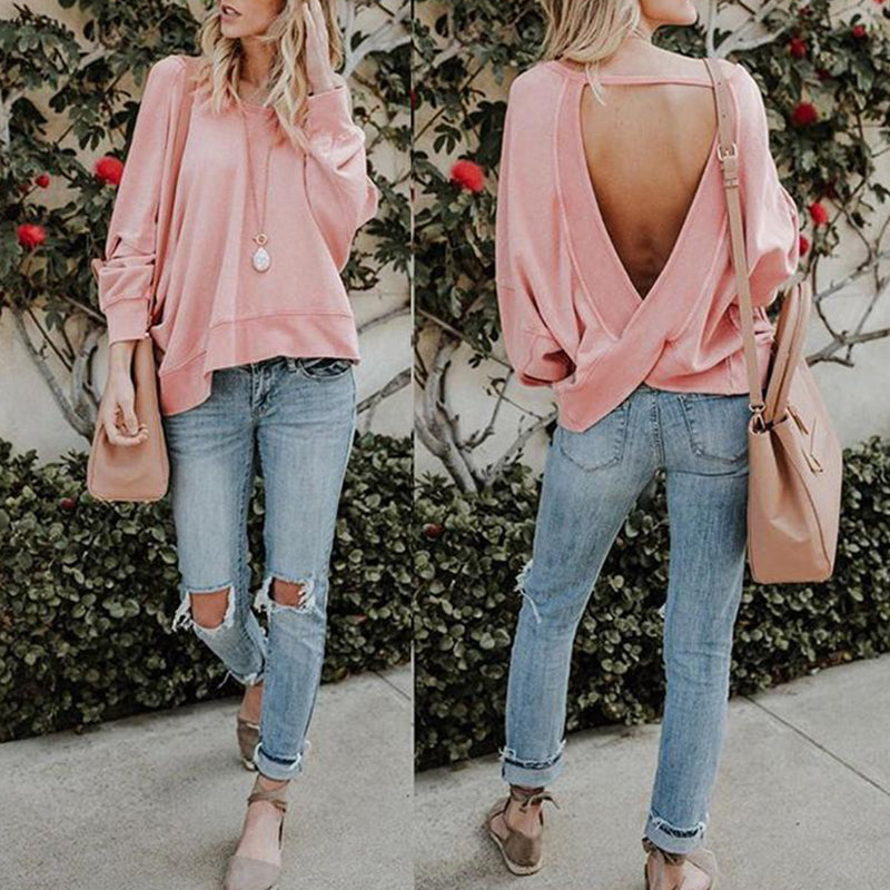 Round Neck Sexy Backless Cross Long Sleeve T-Shirt