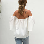 Strapless Backless Plain Bell Sleeve Three Quarter Sleeve Blouse