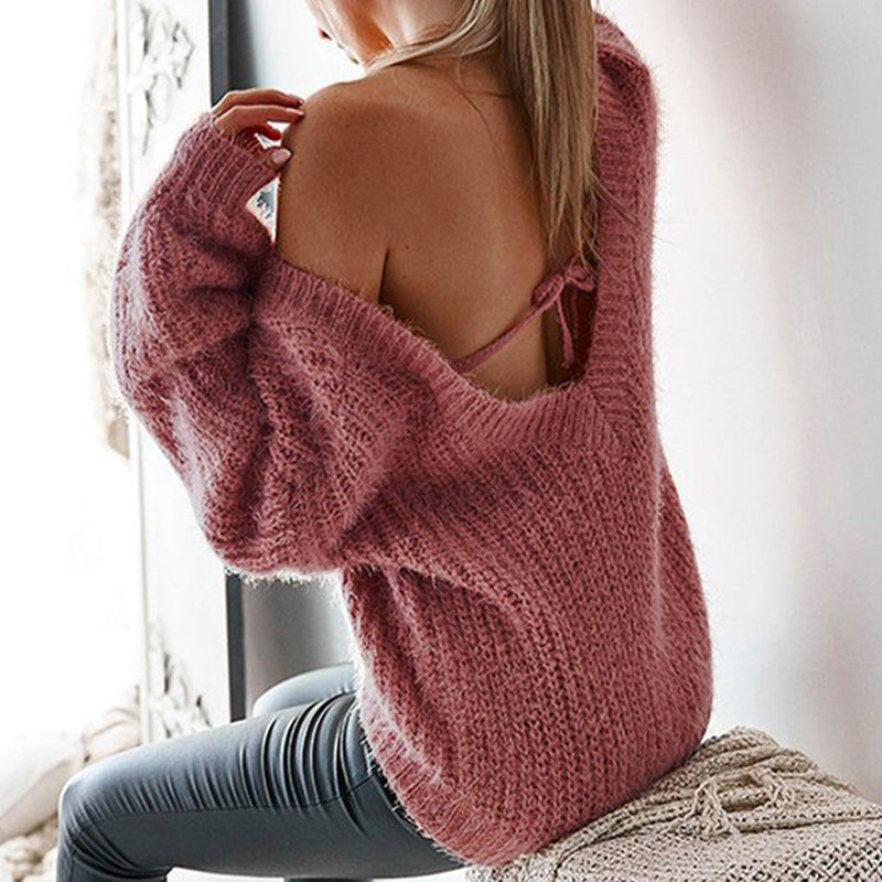 V Neck Backless Bowknot Plain Raglan Sleeve Sweater