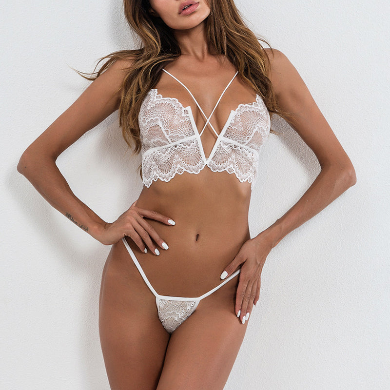 Lace Spaghetti Strap See Through Lace Up Plain Brief Sets