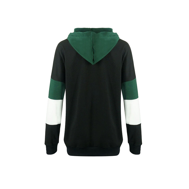 Hooded Drawstring Kangaroo Pocket Color Block Hoodie