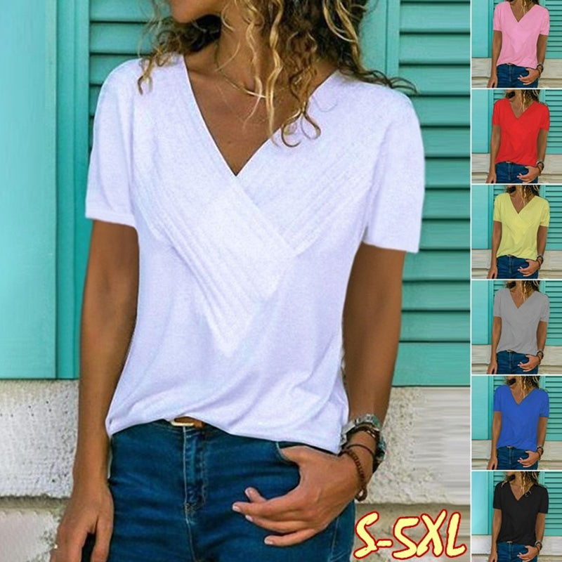 V Neck Plain Pleated Bodice T-Shirt
