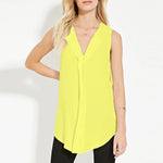 V Neck Asymmetric Plain Chiffon T-Shirt