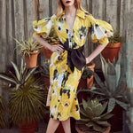 V Neck Single Breasted Belt Floral Printed Lantern Sleeve Maxi Dress