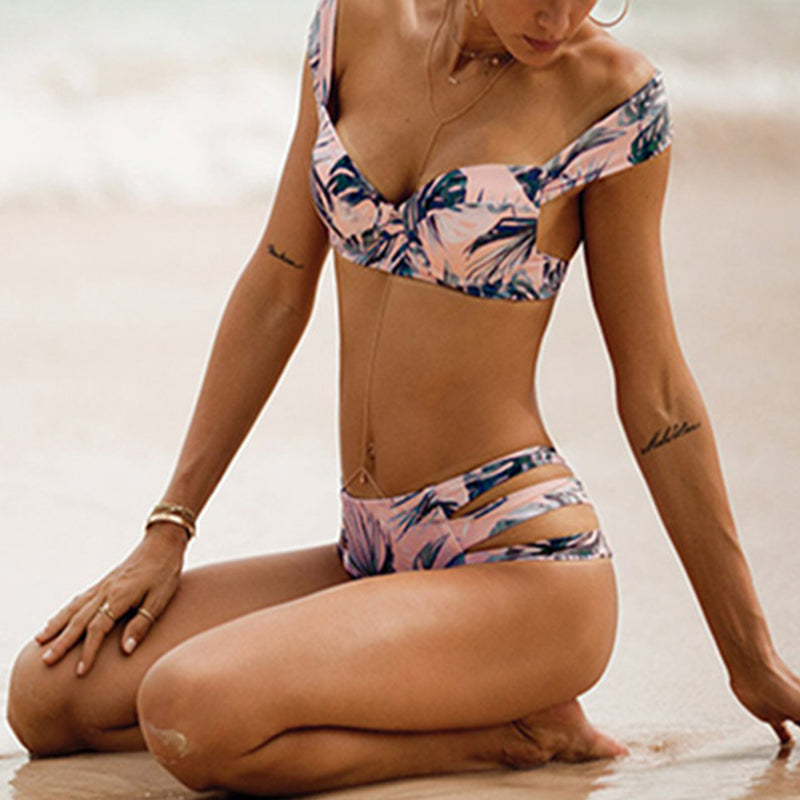Printed Cutout Asymmetric Neck Bikini