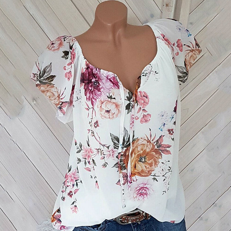 V Neck Lace Up Loose Fitting Floral Printed Blouse
