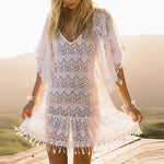 V Neck Lace Fringe Tunic