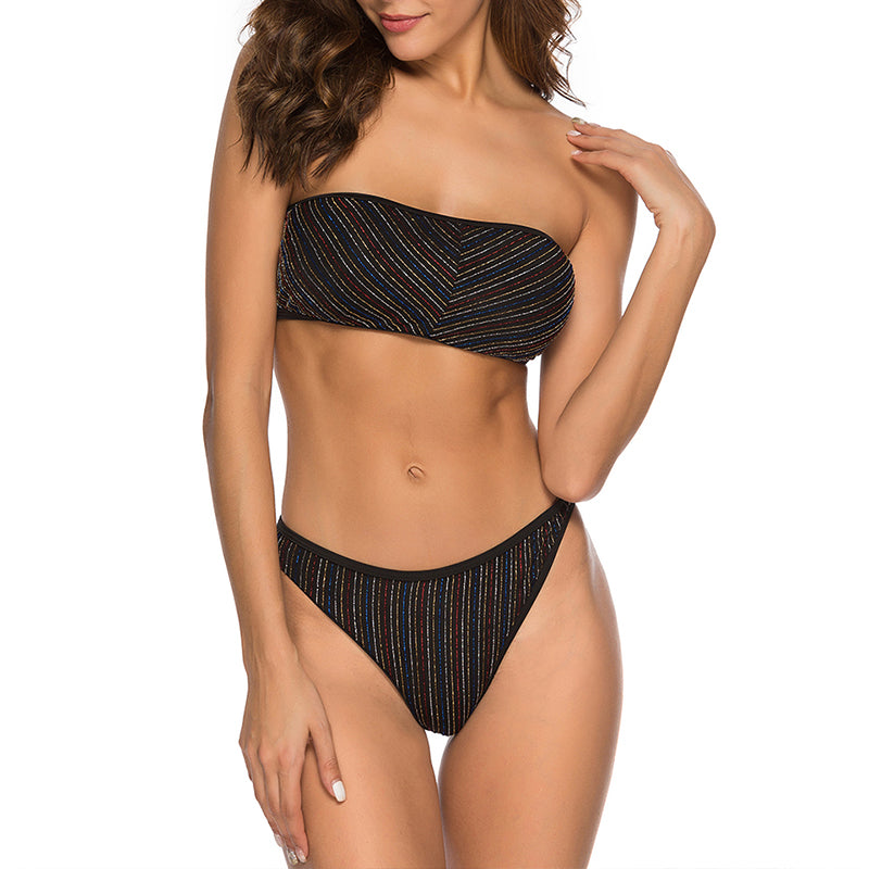 Strapless  Striped Glitter Backless Bikini