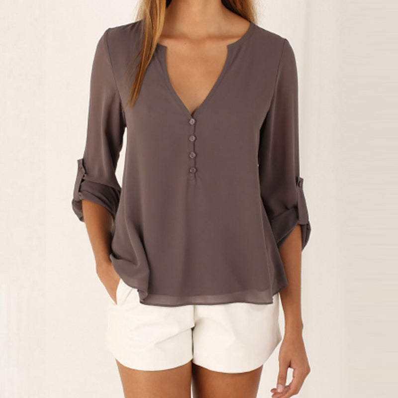 Deep V Neck Asymmetric Hem Single Breasted Plain Blouse