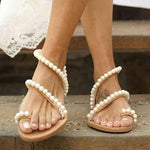 Women Boho Pearl Flip-Flops Flat Heel Shoes Beach Sandals