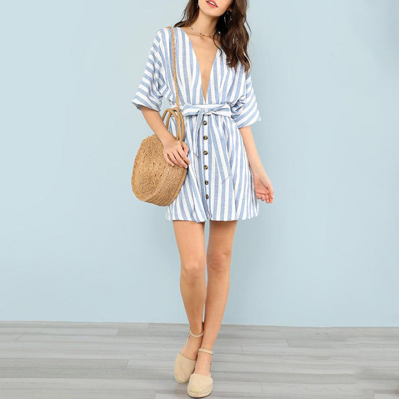 Elegant Deep V Neck Front Striped Mini Day Dress