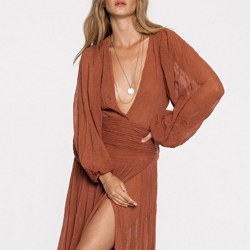 Deep V Neck See Through High Slit Pleated Bodice Sexy Dress