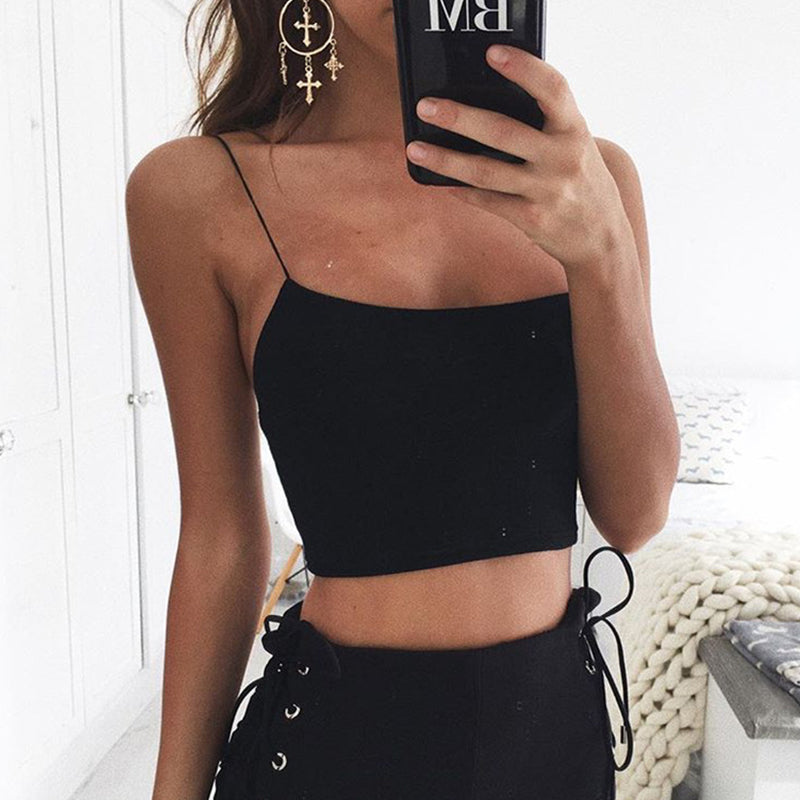 Spaghetti Strap Blended Plain Sexy Camis