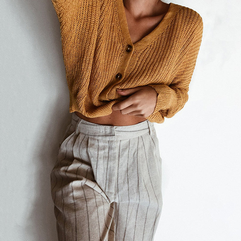 V Neck Single Breasted Exposed Navel Patchwork Sweater