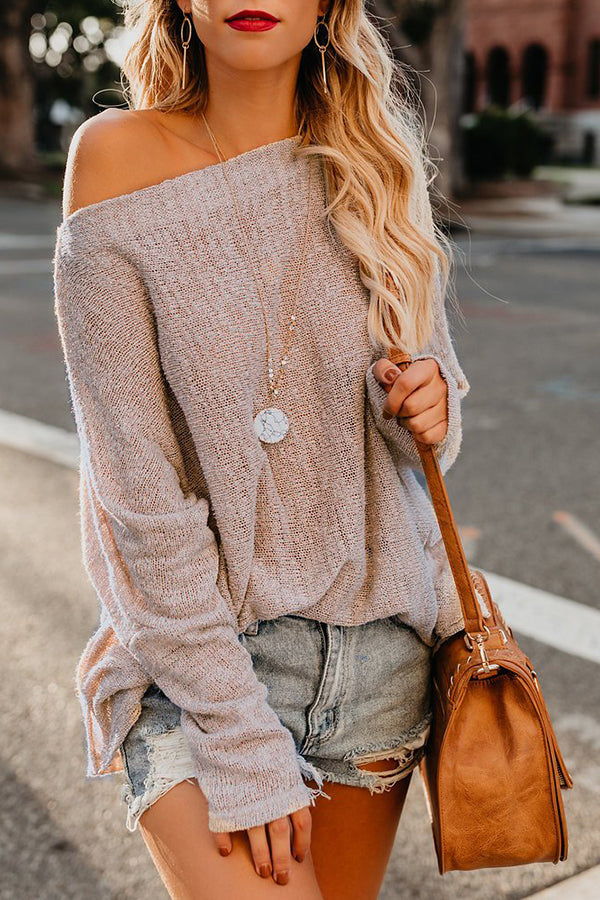 One Shoulder Plain Batwing Sleeve Sweater