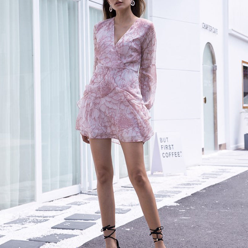 V Neck Floral Printed Long Sleeve Mini Dress