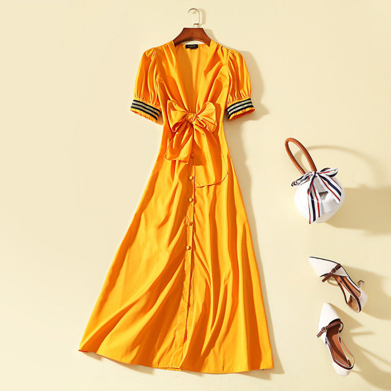 Deep V Neck Bowknot Single Breasted Lantern Sleeve Maxi Dress