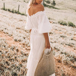 Off Shoulder Ruffle Trim Belt Loops Lantern Half Sleeve Boho Dress
