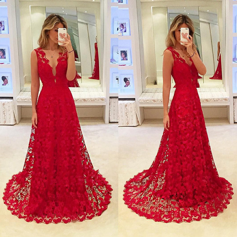 Lace Openwork Sexy V-Neck Red Formal Dress