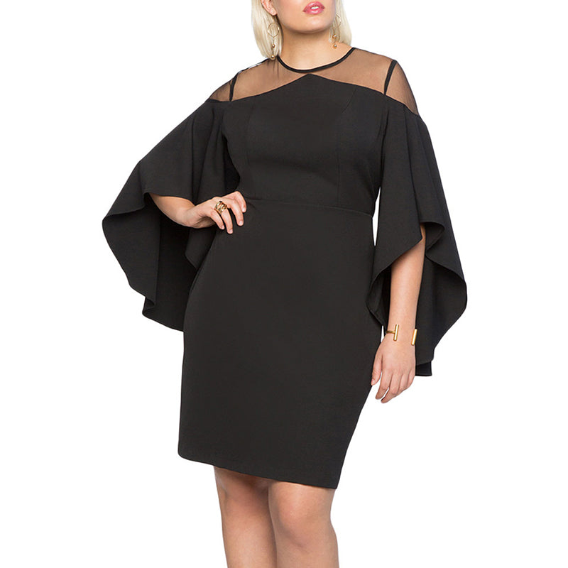 Round Neck Grid Patchwork Asymmetric Bell Sleeve Plus Size Dress