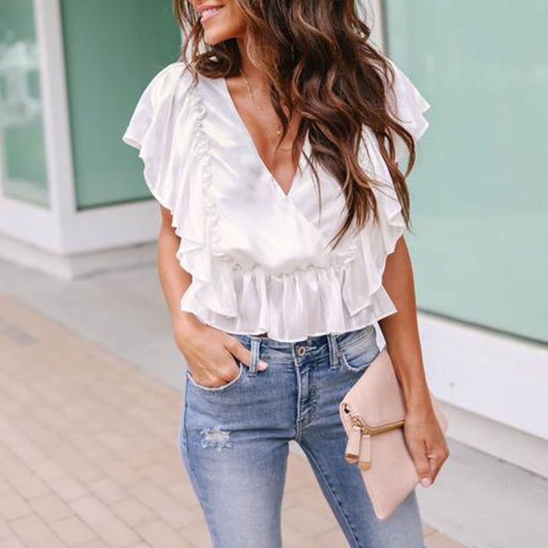 Solid Casual V-Neckline Cap Sleeve Blouses