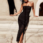 Spaghetti Strap Strapless Side Slit Pleated Bodice Evening Dress