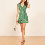 V Neck Ruffle Trim Floral Printed Mini Summer Dress