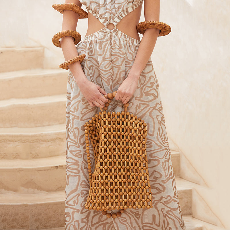 Natural Wooden Beads Hand-Woven Riya Tote
