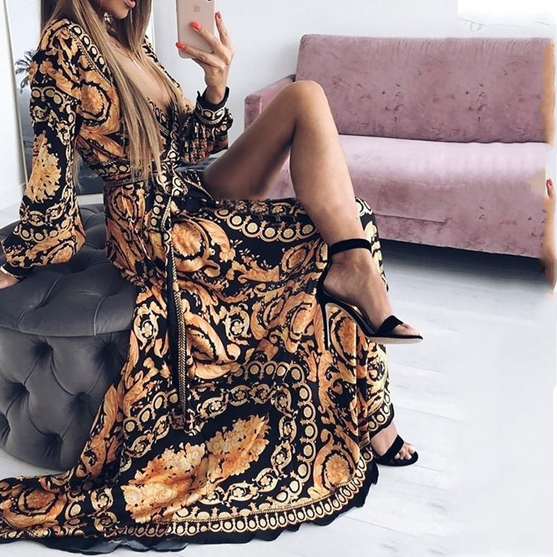 Deep V Neck High Slit Belt Loops Tribal Printed Maxi Dress