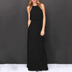 Halterneck Sleeveless Maxi Evening Dress