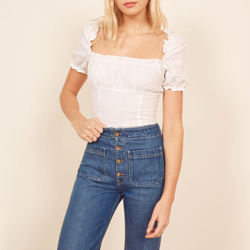 Sexy Square Neck Elastic Waist Ruffle Trim Puff Sleeve Blouse