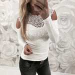 Round Neck Sweet Lace Slim Fit  Women T-Shirt