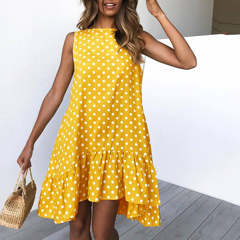 Round Neck Asymmetric Hem Flounce Polka Dot Casual Dress