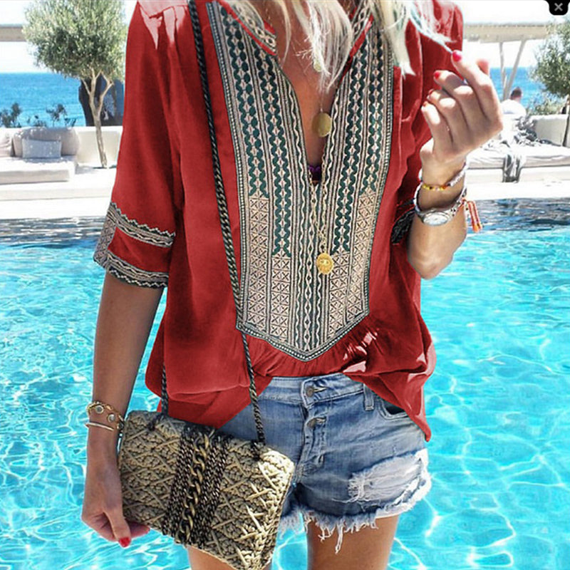 Deep V Neck Tribal Printed Patchwork T-Shirt