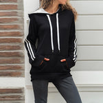 Hooded Kangaroo Pocket Striped Patchwork Hoodie