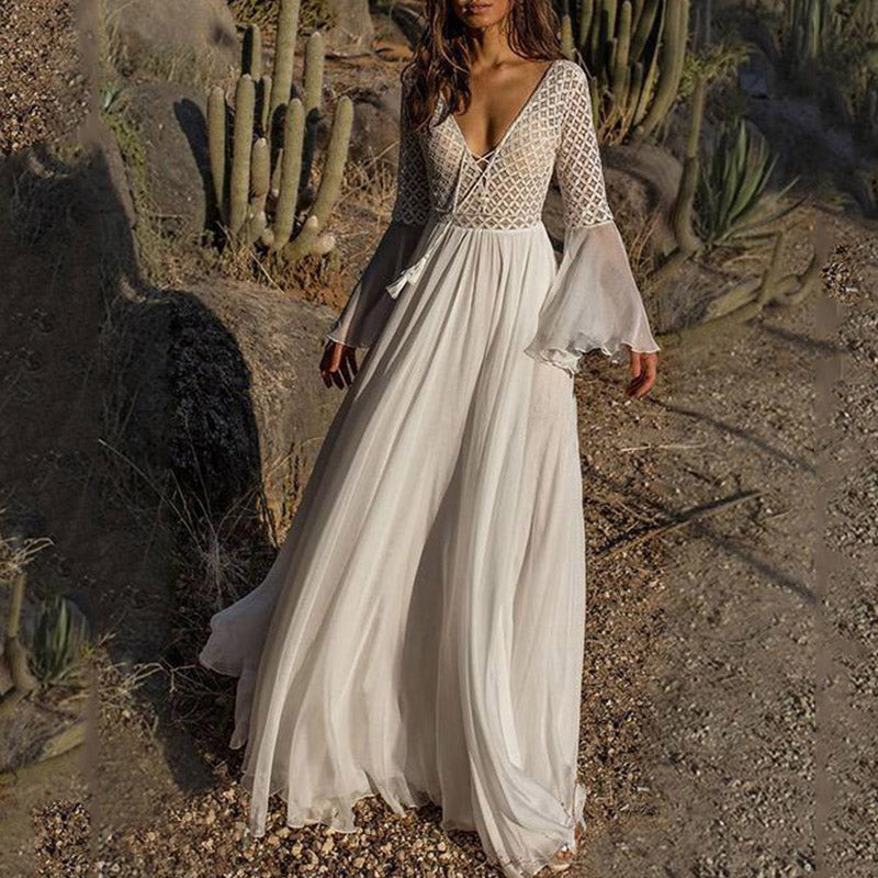 Deep V Neck Lace Up Patchwork Maxi White Dress