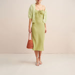 Spaghetti Strap Drawstring Polka Dot Chiffon Dress
