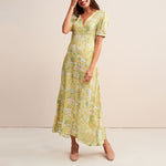 V Neck Floral Printed Lantern Sleeve Maxi Dress
