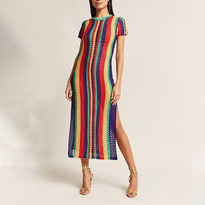 Vertical Striped Crochet Side Slit Tunic